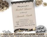 Brown And Beige Seashells And Pearls Bridal Shower Theme: Editable Bridal Shower Invitation - bridal shower invite, pdf jpg - 65924 - Digital Product