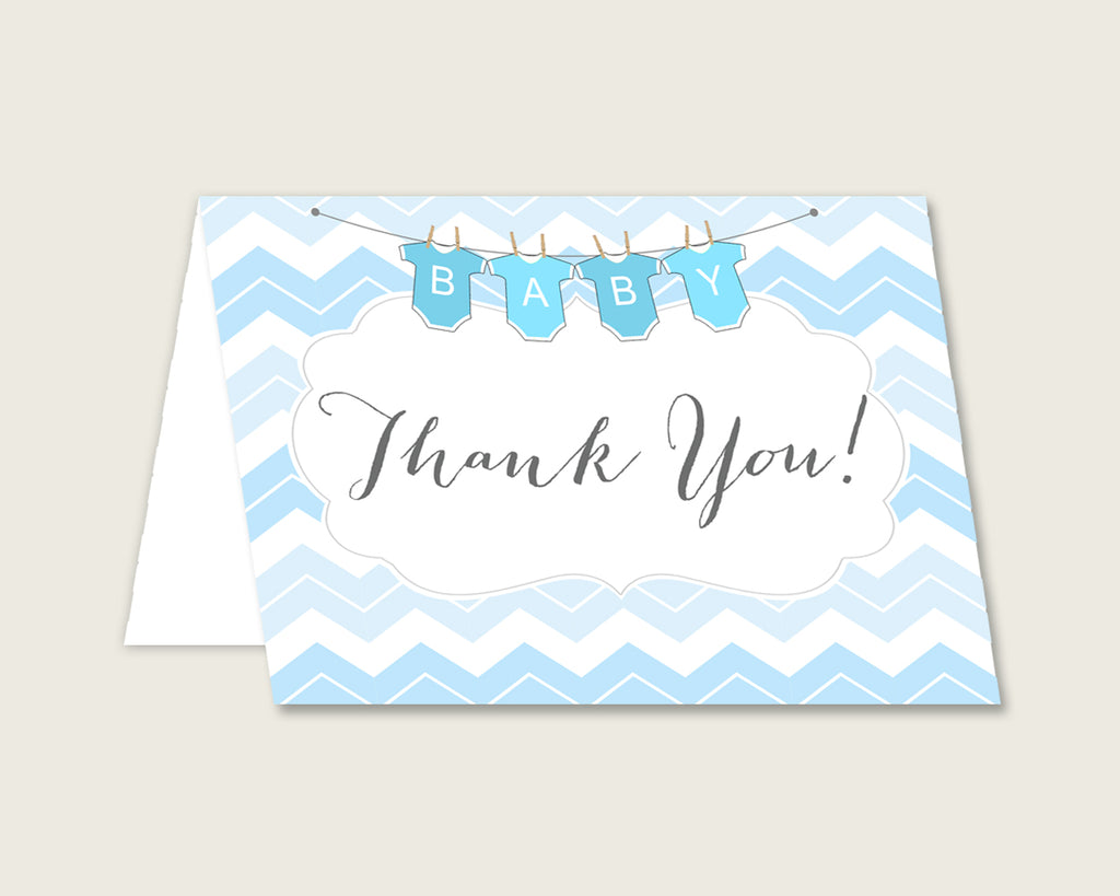 Blue White Thank You Cards Printable, Chevron Baby Shower Thank You Notes, Boy Shower Thank You Folded, Instant Download, Stripy Lines cbl01
