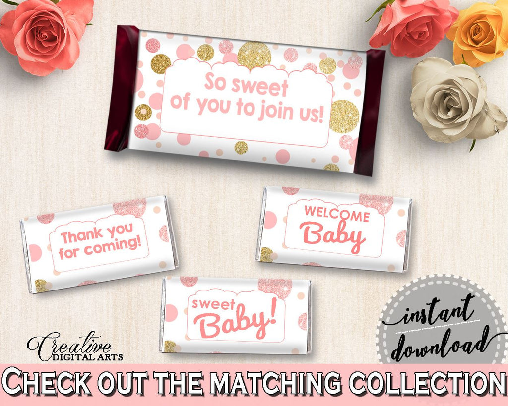 Candy Decorations, Baby Shower Candy Decorations, Dots Baby Shower Candy Decorations, Baby Shower Dots Candy Decorations Pink Gold RUK83 - Digital Product
