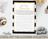 Baby Shower MEMORY game with black white strips color theme printable, glitter gold, digital file jpg pdf, instant download - bs001