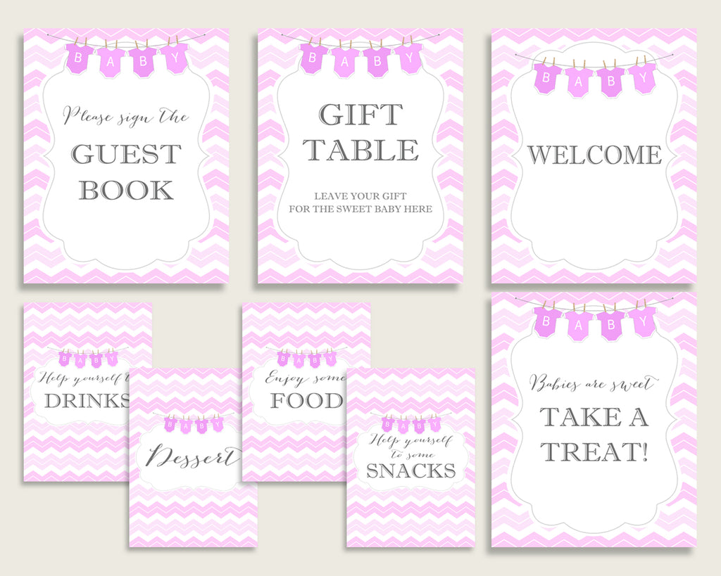 Chevron Baby Shower Girl Table Signs Printable, Pink White Party Table Decor, Favors, Food, Drink, Treat, Guest Book, Instant cp001