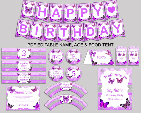 Birthday Butterfly Party Decor Butterfly Editable Package Purple White Birthday Decoration Butterfly Birthday Kit Girl OHI62