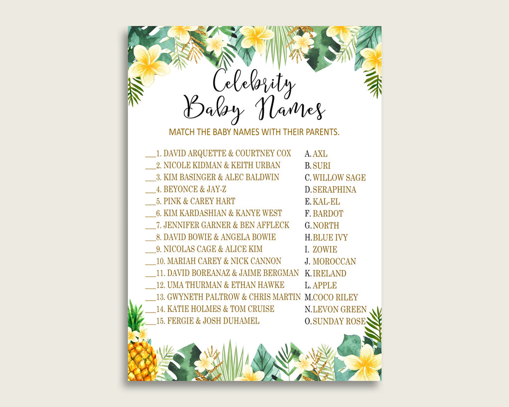 Green Yellow Celebrity Baby Names, Tropical Baby Shower Gender Neutral Name Game Printable, Celebrity Match Game, Famous Babies Game 4N0VK