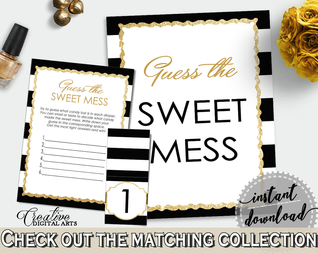 Baby shower GUESS the SWEET MESS game cards tents and sign with black stripes color theme, glitter gold, Jpg Pdf, instant download - bs001