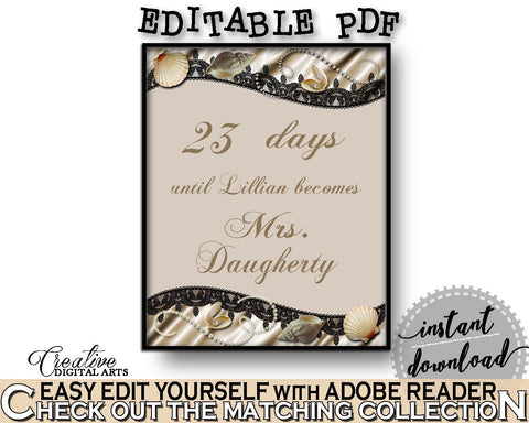 Brown And Beige Seashells And Pearls Bridal Shower Theme: Days Until Becomes - bridal sign, classy shower theme, party organization - 65924 - Digital Product