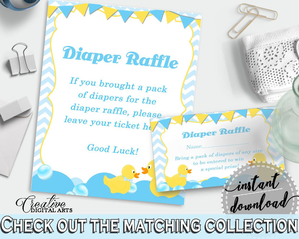 Blue And Mint Shower Donald Duck Diaper Raffle Card Bring Diapers DIAPER RAFFLE, Party Organization, Party Supplies, Pdf Jpg - rd002 - Digital Product