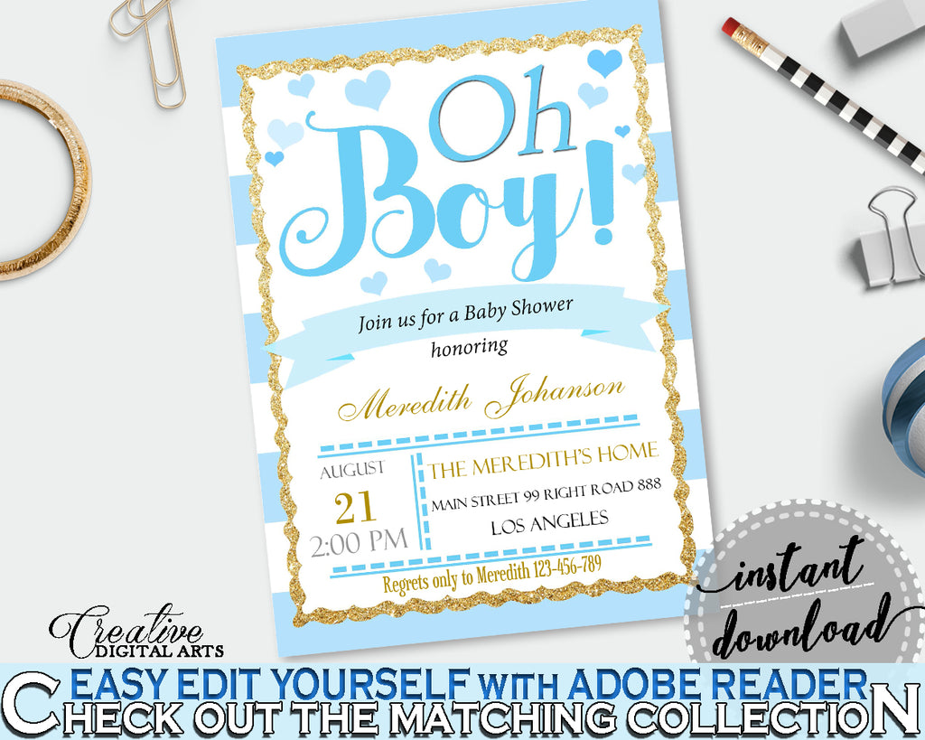 Baby Shower editable INVITATION with blue and white stripes theme, digital Jpg Pdf, instant download - bs002