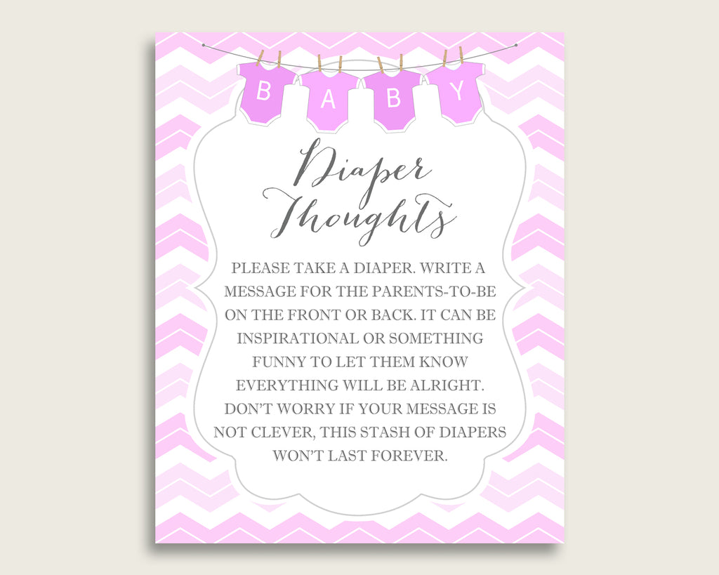 Chevron Baby Shower Diaper Thoughts Printable, Girl Pink White Late Night Diaper Sign, Words For Wee Hours, Write On Diaper Message cp001