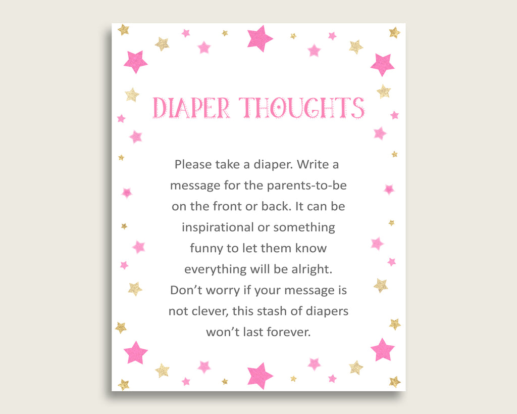 Twinkle Star Baby Shower Diaper Thoughts Printable, Girl Pink Gold Late Night Diaper Sign, Words For Wee Hours, Write On Diaper bsg01