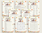 Woodland Baby Shower Games Printable Pack, Brown Beige Baby Shower Games Package Gender Neutral, Fall Games Bundle Set, Instant w0001