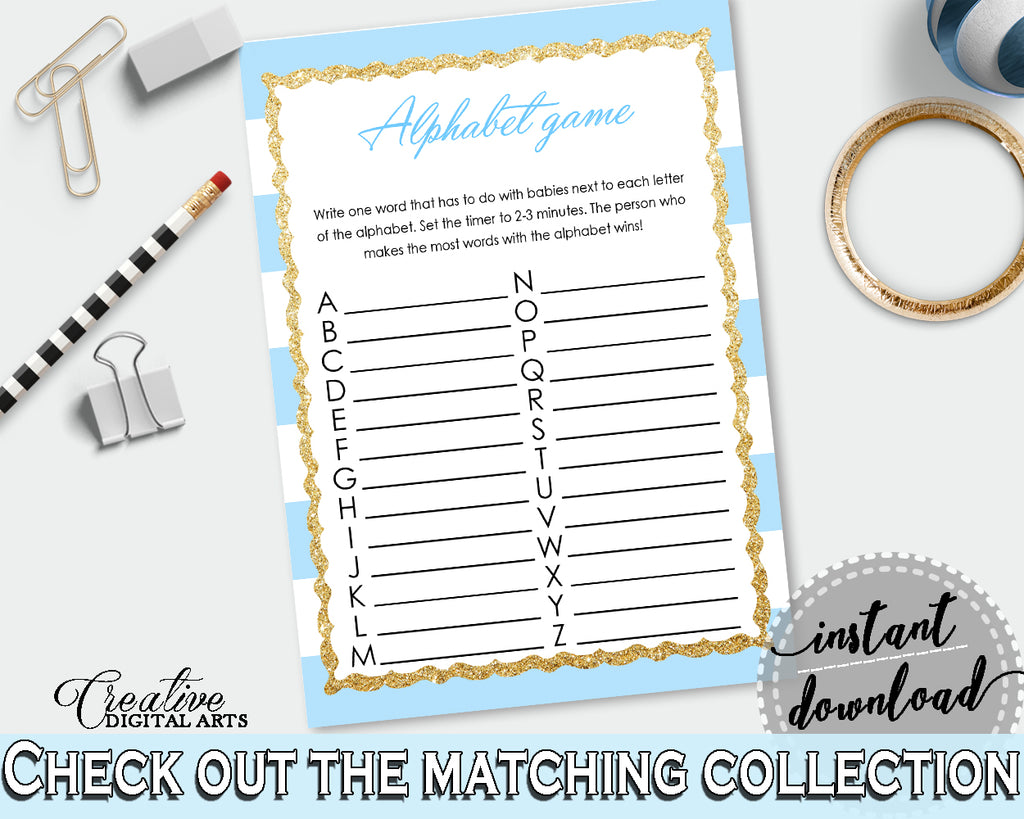 Baby Shower printable ABC's game with blue and white stripes glitter, digital file, Jpg and Pdf, instant download - bs002