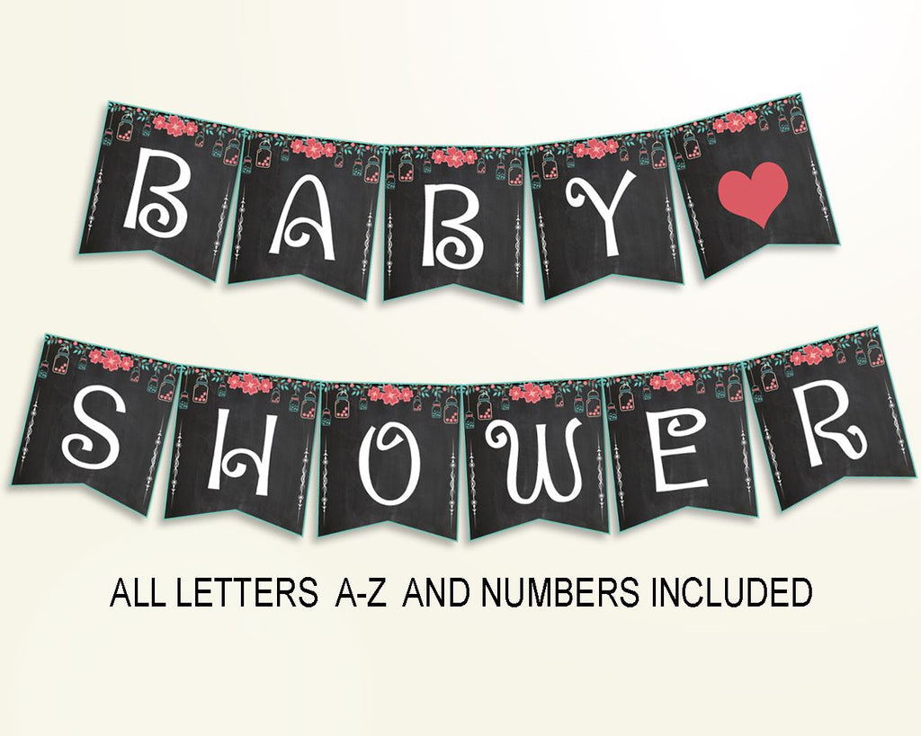 Banner Baby Shower Banner Chalkboard Baby Shower Banner Baby Shower Chalkboard Banner Black Pink digital print party ideas pdf jpg NIHJ1 - Digital Product