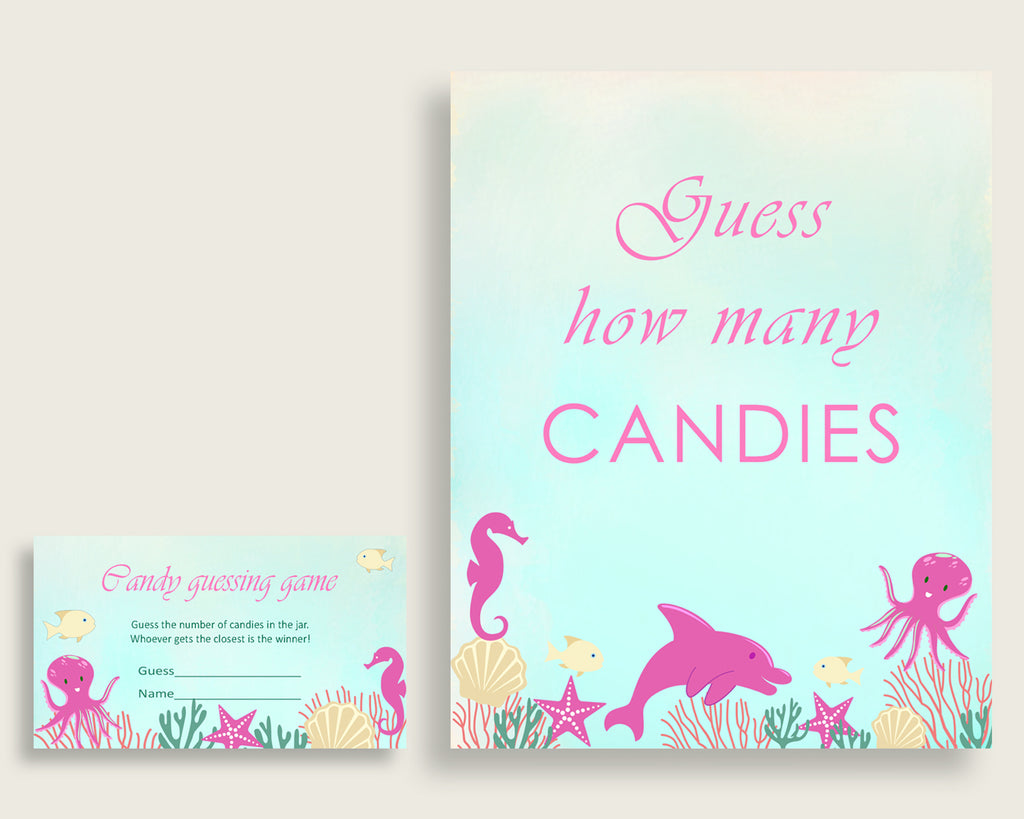Pink Green Candy Guessing Game, Under The Sea Baby Shower Girl Sign And Cards, Guess How Many Candies, Candy Jar Game, Jelly Beans uts01