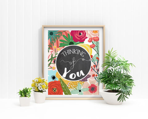 Wall Art Thinking Of You Digital Print Thinking Of You Poster Art Thinking Of You Wall Art Print Thinking Of You  Wall Decor Thinking Of You - Digital Download