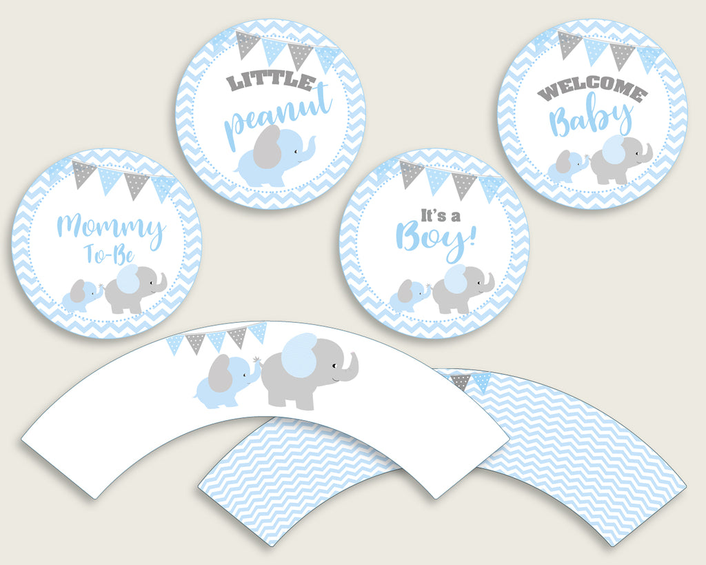 Elephant Cupcake Toppers, Blue Grey Cupcake Wrappers, Toppers Wrappers Baby Shower Boy, Instant Download, Mammoth Trunk Chevron Theme ebl02