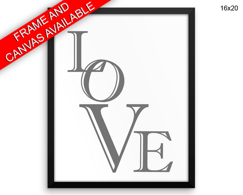 Love Print, Beautiful Wall Art with Frame and Canvas options available Bedroom Decor