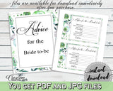Advice Cards Bridal Shower Advice Cards Botanic Watercolor Bridal Shower Advice Cards Bridal Shower Botanic Watercolor Advice Cards 1LIZN - Digital Product