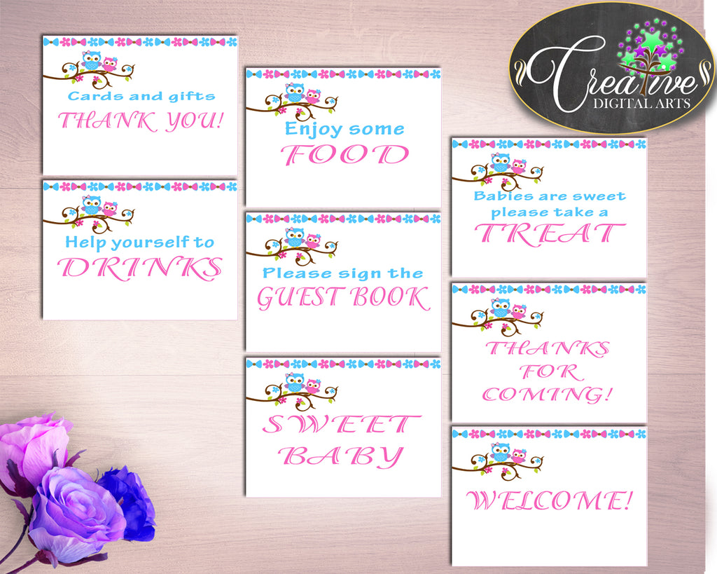 Table Signs Baby Shower Table Signs Owl Baby Shower Table Signs Baby Shower Owl Table Signs Pink Blue prints instant download owt01