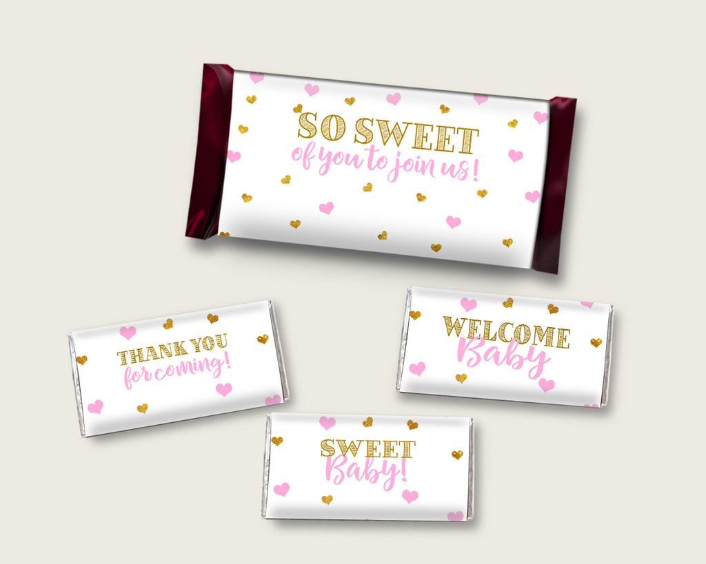 Candy Wrappers Baby Shower Hershey Wrappers Hearts Baby Shower Candy Wrappers Baby Shower Hearts Hershey Wrappers Pink Gold prints bsh01