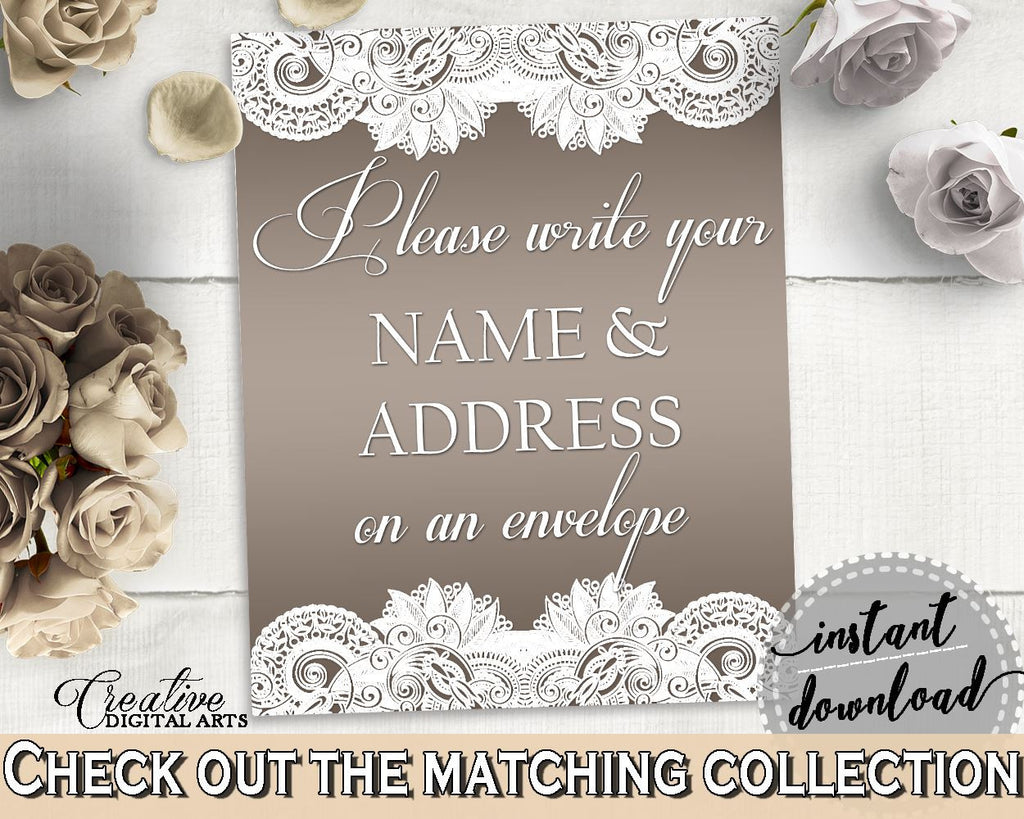 Brown And Silver Traditional Lace Bridal Shower Theme: Write Your Name And Address Sign - letter address, grey theme, party decor - Z2DRE - Digital Product