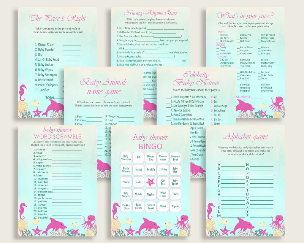 Under The Sea Baby Shower Games Printable Pack, Pink Green Baby Shower Games Package Girl, Under The Sea Games Bundle Set, Instant uts01