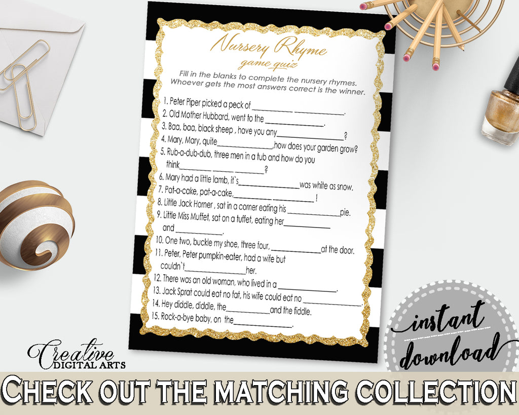 Baby Shower NURSERY RHYME QUIZ game with black white stripes color theme printable, glitter gold, digital files, instant download - bs001