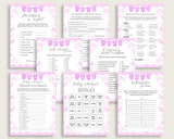 Chevron Baby Shower Games Printable Pack, Pink White Baby Shower Games Package Girl, Chevron Games Bundle Set, Instant Download, cp001