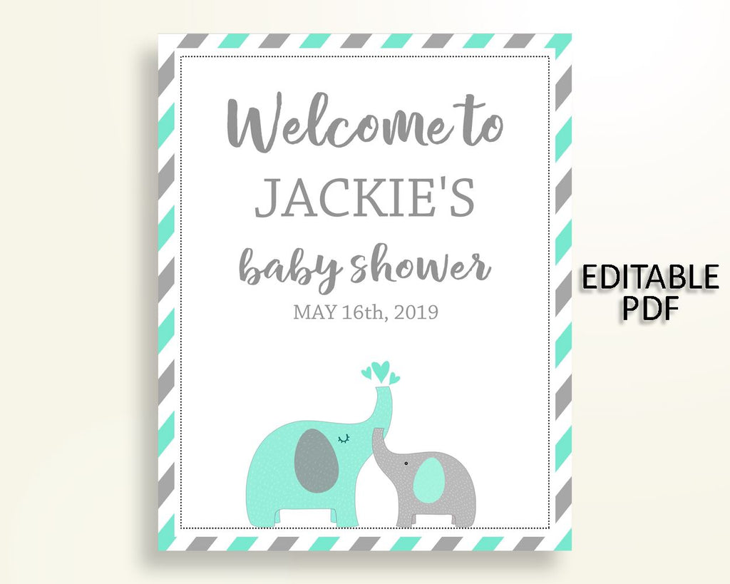 Welcome Sign Baby Shower Welcome Sign Turquoise Baby Shower Welcome Sign Baby Shower Elephant Welcome Sign Green Gray party ideas 5DMNH - Digital Product