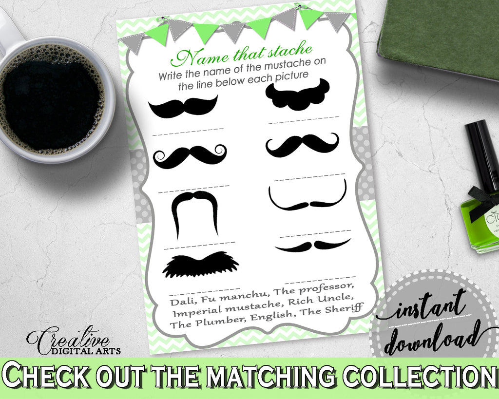 Baby Boy Shower NAME THAT STACHE game with chevron green theme printable, digital file, Jpg Pdf, instant download - cgr01