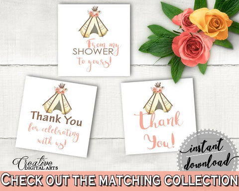 Favor Tags Bridal Shower Favor Tags Tribal Bridal Shower Favor Tags Bridal Shower Tribal Favor Tags Pink Brown digital print - 9ENSG - Digital Product