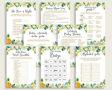 Tropical Baby Shower Games Printable Pack, Green Yellow Baby Shower Games Package Gender Neutral, Tropical Games Bundle Set, Instant 4N0VK