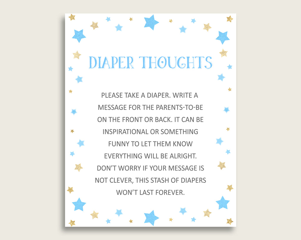 Stars Baby Shower Diaper Thoughts Printable, Boy Blue Gold Late Night Diaper Sign, Words For Wee Hours, Write On Diaper Message, Sign bsr01