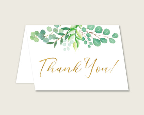 Green Gold Thank You Cards Printable, Greenery Baby Shower Thank You Notes, Gender Neutral Shower Thank You Folded, Instant Download, Y8X33