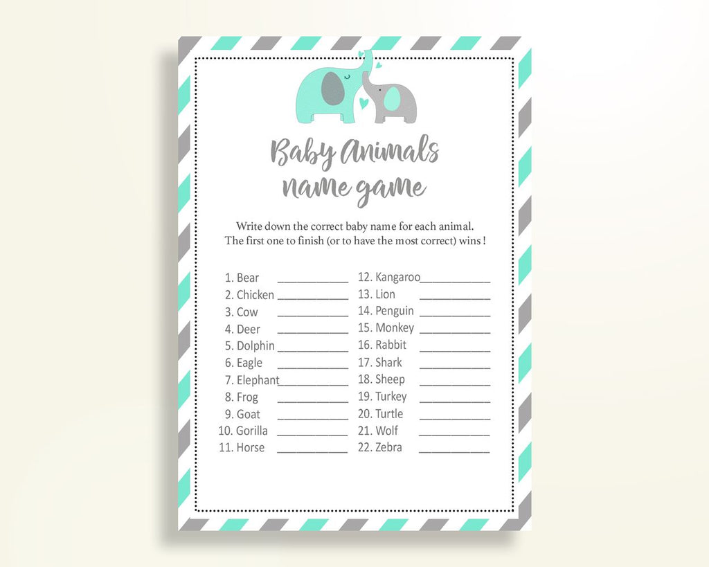 Baby Animal Names Baby Shower Baby Animal Names Turquoise Baby Shower Baby Animal Names Baby Shower Elephant Baby Animal Names Green 5DMNH - Digital Product