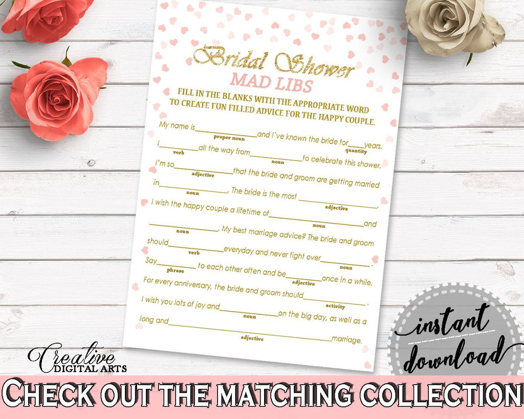mad libs bridal shower mad libs pink and gold bridal shower mad libs bridal shower pink