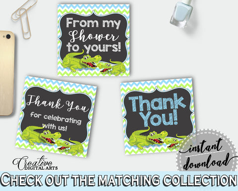 Baby shower THANK YOU favor tags square printable with green alligator and blue color theme for boys, instant download - ap002