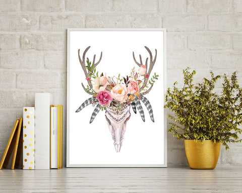 Flowers Prints Wall Art Skull Digital Download Flowers Animal Art Skull Animal Print Flowers Instant Download Skull Frame And Canvas - Digital Download