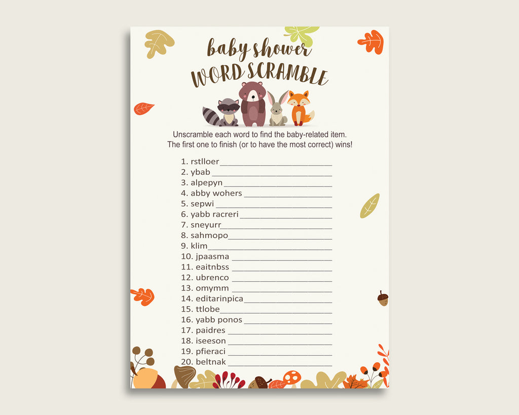 Gender Neutral Baby Shower Word Scramble Game Printable, Cute Woodland Brown Beige Word Scramble, Funny Activity, Instant Download, w0001