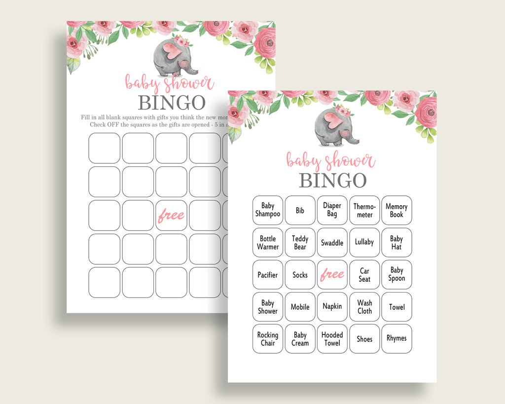 Pink Elephant Baby Shower Bingo Cards Printable, Pink Grey Baby Shower Girl, 60 Prefilled Bingo Game Cards, Mammoth Safari Theme ep001