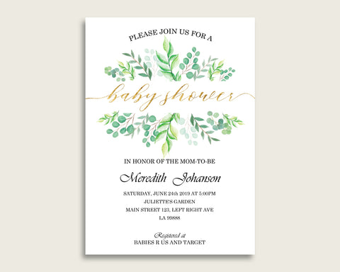 Greenery Baby Shower Invitations Printable, Digital Or Printed Invitation Baby Shower Gender Neutral, Editable Invitation Green Gold Y8X33