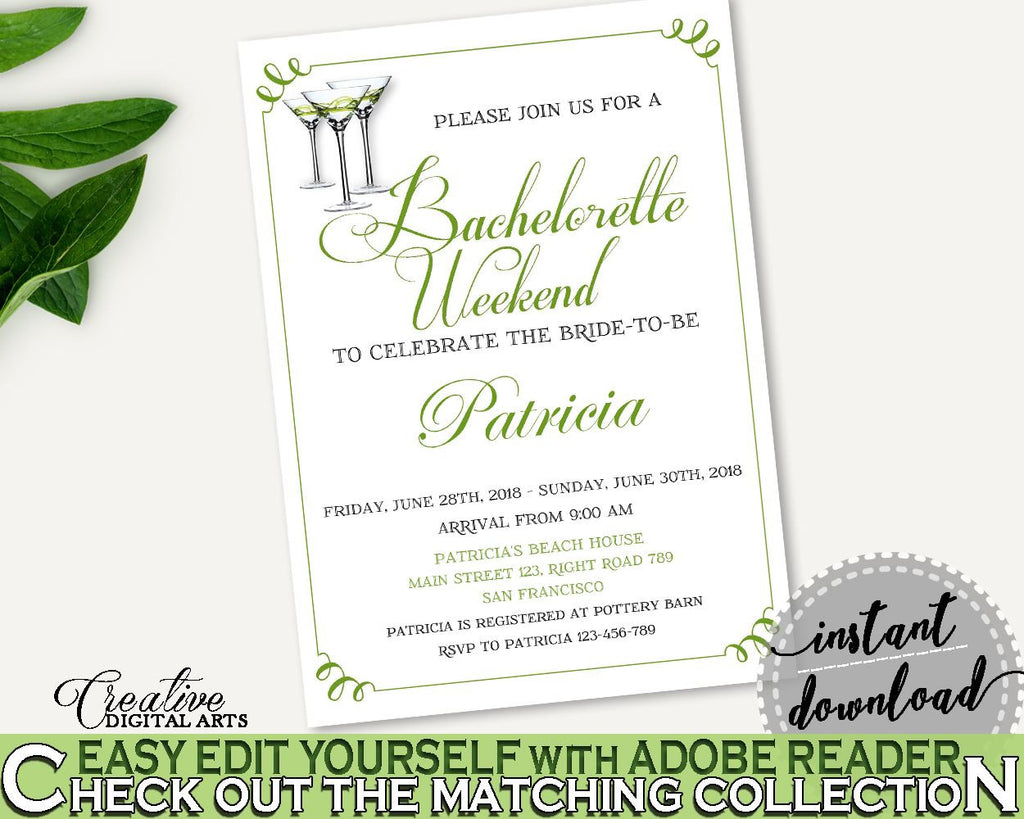 Bachelorette Weekend Invitation Bridal Shower Bachelorette Weekend Invitation Modern Martini Bridal Shower Bachelorette Weekend ARTAN - Digital Product