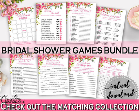Games Bridal Shower Games Spring Flowers Bridal Shower Games Bridal Shower Spring Flowers Games Pink Green printable files, prints UY5IG - Digital Product