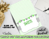 Baby shower Place CARDS or FOOD TENTS editable printable with chevron green theme baby girl or boy, digital files, instant download - cgr01