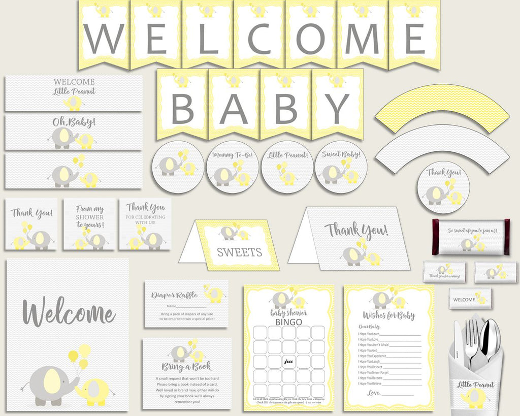 Decorations Baby Shower Decorations Yellow Baby Shower Decorations Baby Shower Elephant Decorations Yellow Gray party decorations W6ZPZ