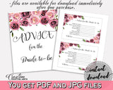 Advice Cards Bridal Shower Advice Cards Floral Bridal Shower Advice Cards Bridal Shower Floral Advice Cards Pink Purple party decor - BQ24C - Digital Product
