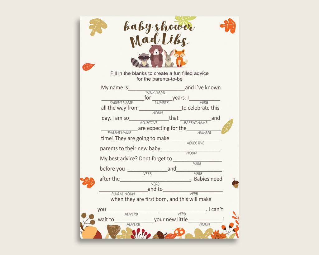 Brown Beige Mad Libs Baby Shower Gender Neutral Game Printable, Woodland Mad Libs Fun Activity, DIY digital file, Racoon Fox Rabbit w0001