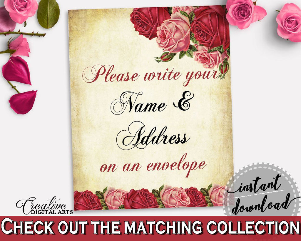 Addressing Sign Bridal Shower Addressing Sign Vintage Bridal Shower Addressing Sign Bridal Shower Vintage Addressing Sign Red Pink XBJK2 - Digital Product