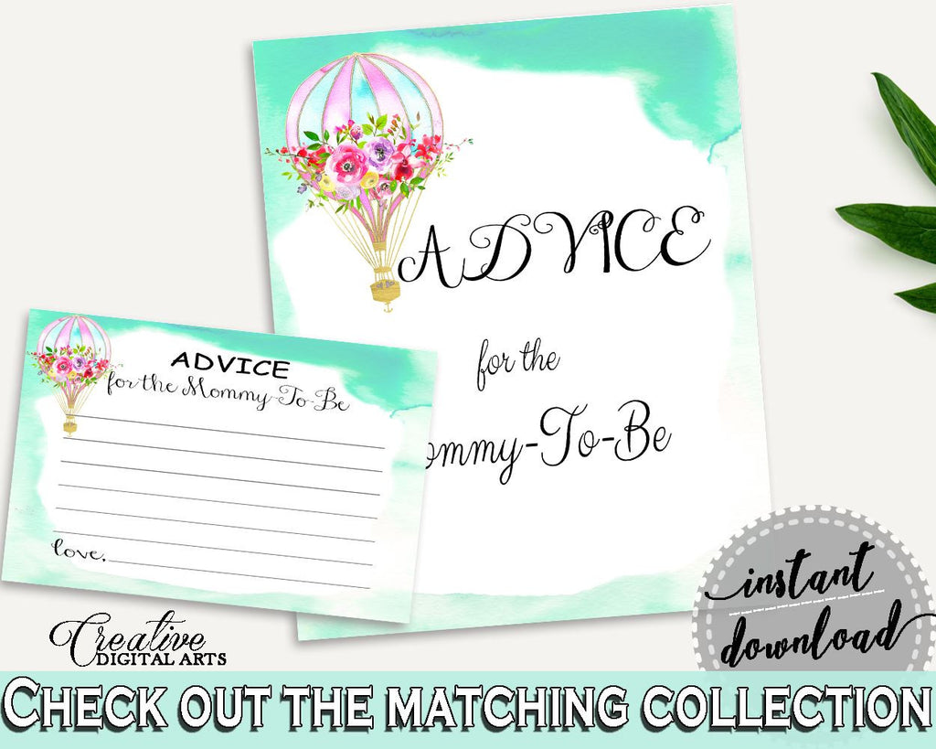 Advice Cards Baby Shower Advice Cards Hot Air Balloon Baby Shower Advice Cards Baby Shower Hot Air Balloon Advice Cards Green Pink CSXIS - Digital Product