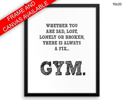 Gym Print, Beautiful Wall Art with Frame and Canvas options available Gym Decor