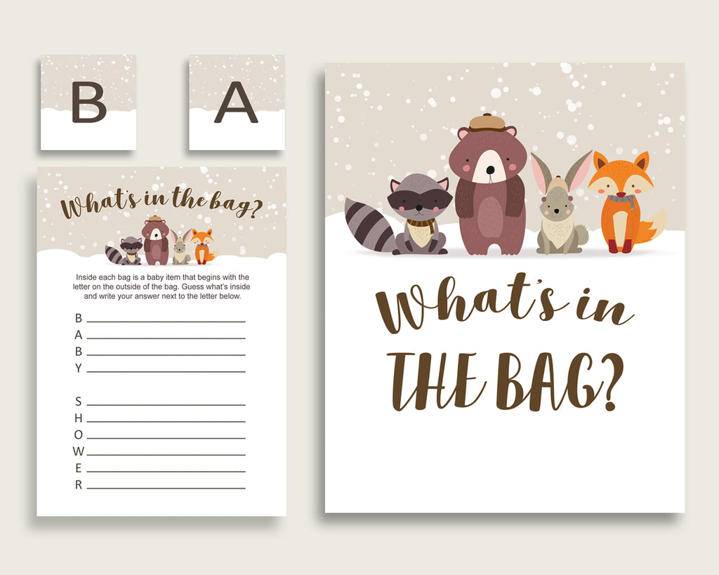 Winter Woodland Baby Shower What's In The Bag Game, Beige Brown Gender Neutral Bag Game Printable, Instant Download, Woods Theme RM4SN